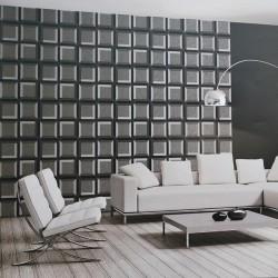 Living decorat cu tapet geometric