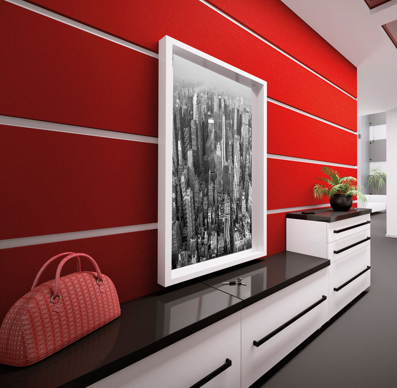Lipeste autocolant cu aspect de catifea rosie pe placi de lemn sau pal montate pe perete.