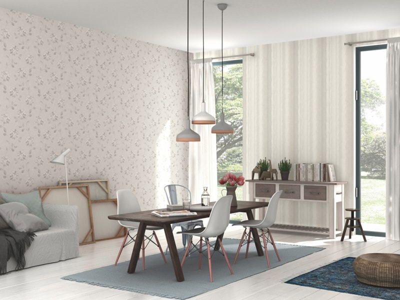 Tapet floral in living