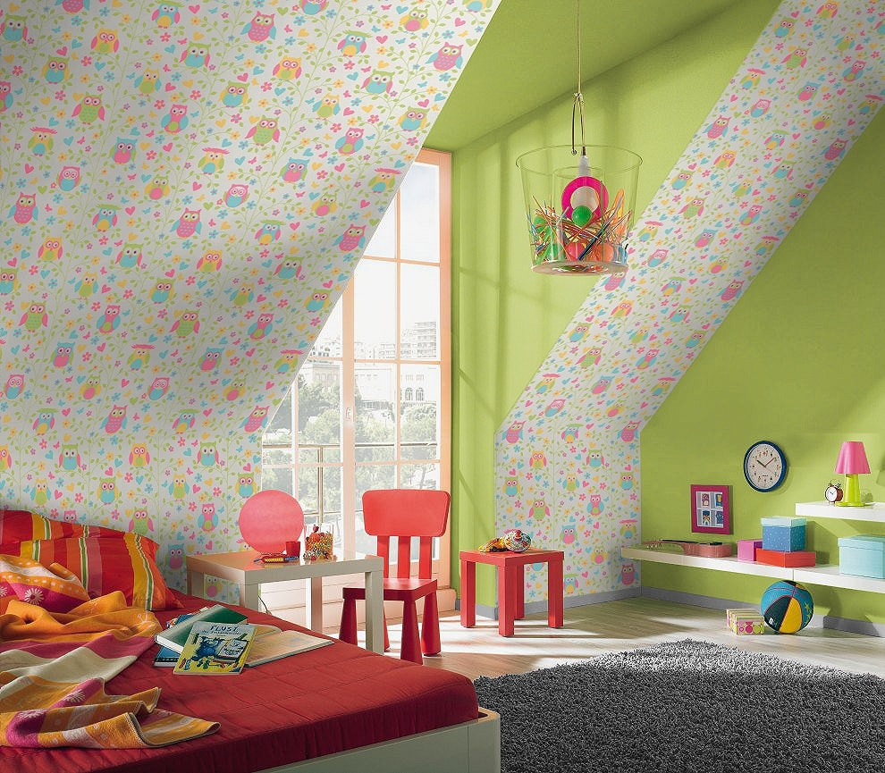 Tapet cu bufnite pentru camera copii
