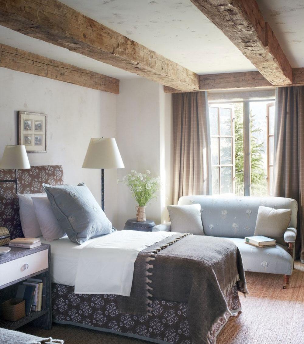 Dormitori cu grinzi de lemn vizibile